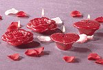 Rose and Heart Candles (Set of 4)