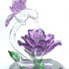 Glass Sculpture Hummingbird With Flower