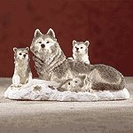 Alabastrite Wolf Family On Snow