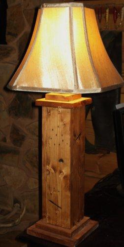 Handmade Rustic Pine Wood Table Lamp Cabin Lodge Lighting