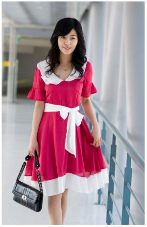 Round-collar Color-interval Chiffon One Piece