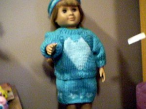 Handmade Valentine Three Piece Knit Outfit for 18 inch American Girl Doll
