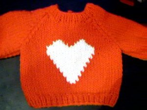 Handmade Valentine Heart Sweater for 15 inch Bitty Baby Doll