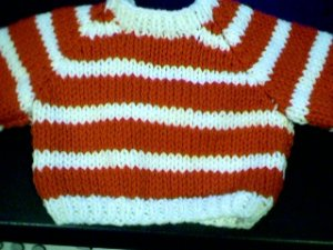 Handmade Two Stripes Crew Neck Pullover Sweater for 18 inch American Girl Doll