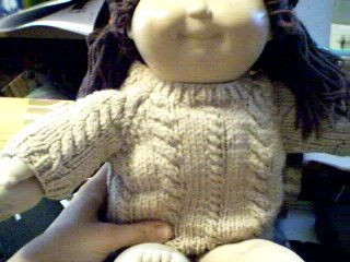 Handmade Rope Cable Twist Sweater for 16 inch Cabbage Patch Kid Doll