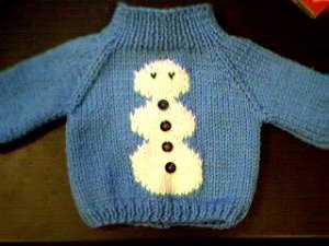 Handmade Christmas Snowman Sweater for 16 inch Cabbage Patch Kid Doll