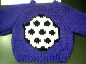 Handmade Soccer Ball Sweater for 16 inch Cabbage Patch Kid Doll
