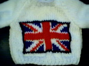 Handmade United Kingdom Union Jack Flag Sweater for 16 inch Cabbage Patch Kid doll