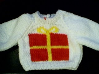 Handmade Christmas Present Sweater for 15 inch Bitty Baby Doll