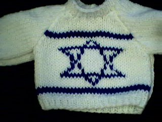 Handmade Jewish Israeli Flag Sweater for 15 inch Bitty Baby Doll