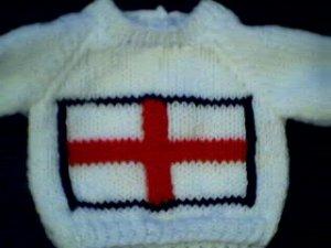 Handmade United Kingdom St. George Flag Sweater for 15 inch Bitty Baby Doll