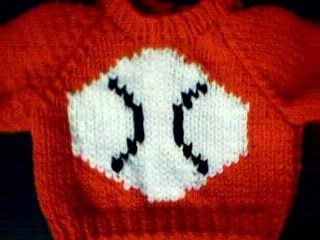 Handmade American Girl Doll Sweater - Baseball