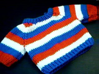 Handmade Baby Born Doll Sweater - Three Stripes