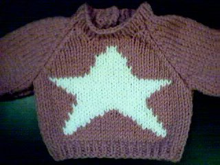 Handmade Baby Born Doll Sweater - Star
