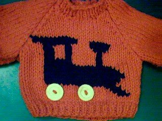 Handmade Baby Born Doll Sweater - Train Engine