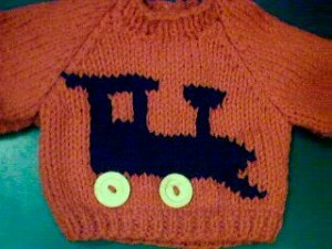 Handmade Baby Born Doll Sweater - Train Engine