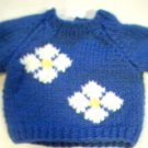 Handmade Baby Born Doll Sweater - Two Flowers