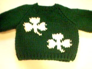 Handmade Baby Born Doll Sweater - Two Shamrocks
