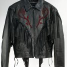 Black Fringe Leather Ladies Coat Jacket Thinsulate Lining 10