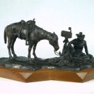 "1973 Laurence Coffelt Bronze Cowboy Flinthills Gallery ""Waitin for the mail"""