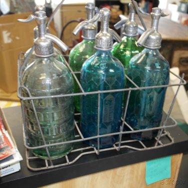 Vintage 6 Color Argentine Seltzer Bottles With Original Carry Case