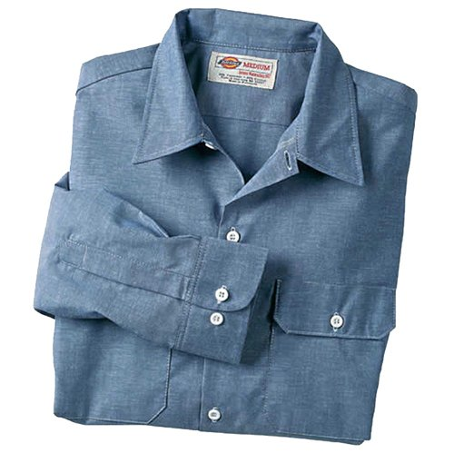 DICKIES LONG SLEEVE CHAMBRAY CLASSIC STYLE BLUE WORK SHIRT LARGE (16-16.5 X 32/33) - FREE SHIPPING