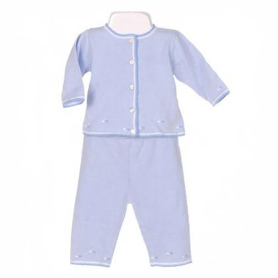 TODDOT LIGHT BLUE 100% COTTON EMBROIDERED CARDIGAN AND PANTS GIFT SET 0-3 MONTHS - FREE SHIPPING
