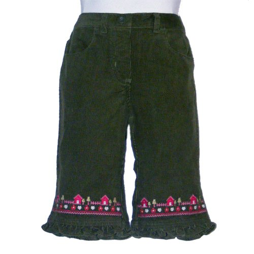 GYMBOREE FOREST GREEN RUFFELED HEM EMBROIDERED  ELASTIC WAIST CORDUROY PANTS 2T - FREE SHIPPING