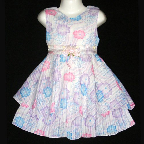 SAINT TORTRESS MULTICOLOR SLEEVELESS FLORAL PARTY DRESS WITH REMOVABLE FLOWER 4T - FREE SHIPPING