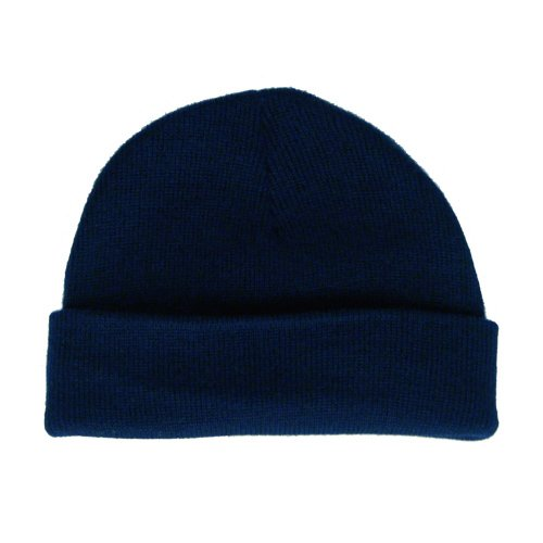 TAN BRAND NAVY SKULL CAP OSFA UNISEX CLASSIC STYLE BEANIE RIBBED ACRYLIC STRETCH HAT - FREE SHIPPING