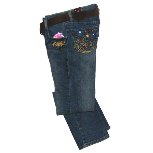 ECHO RED DARK STONEWASH STRETCH JEANS GIRLS 12 - FREE USA + CAN SHIPPING