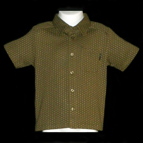 OLIVE GREEN COMME �A ISM SHORT SLEEVE BUTTON FRONT SHIRT WITH COLLAR 18 MONTHS - FREE SHIPPING