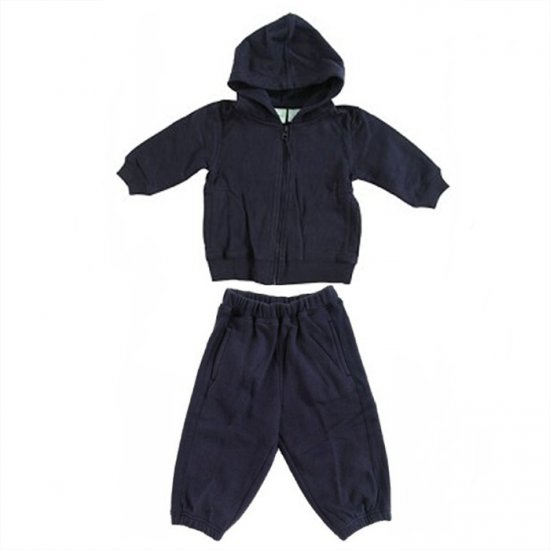 NAVY CIRCO ZIP FRONT HOODED SWEAT SET WITH FLEECED INTERIOR & POCKETS 18 MONTHS - FREE SHIPPING