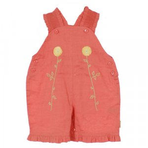 TAPE A L'OEIL ORANGE OVERALLS WITH RUFFLED TRIM AND FLOWER EMBROIDERY 6 MONTHS - FREE SHIPPING