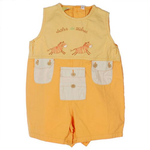 TCF (TOUT COMPTE FAIT) ORANGE ZEBRA EMBROIDERED OVERALLS WITH POCKETS 6 MONTHS - FREE SHIPPING