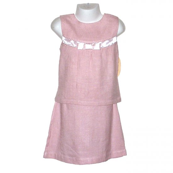 BOUTIQUE COLLECTION PINK SKIRT AND SLEEVELESS TOP WITH SATIN EMBELLISHMENT GIRLS 5 - FREE SHIPPING