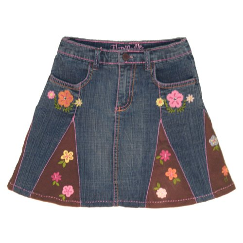 FLAPDOODLES EMBELLISHED DENIM SKIRT WITH CONTRAST STITCHING AND UNDERSHORTS GIRLS 4 - FREE SHIPPING