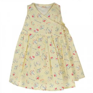 TCF (TOUT COMPTE FAIT) YELLOW SLEEVELESS WRAP DRESS WITH GRAPHIC PRINT 6 MONTHS - FREE SHIPPING