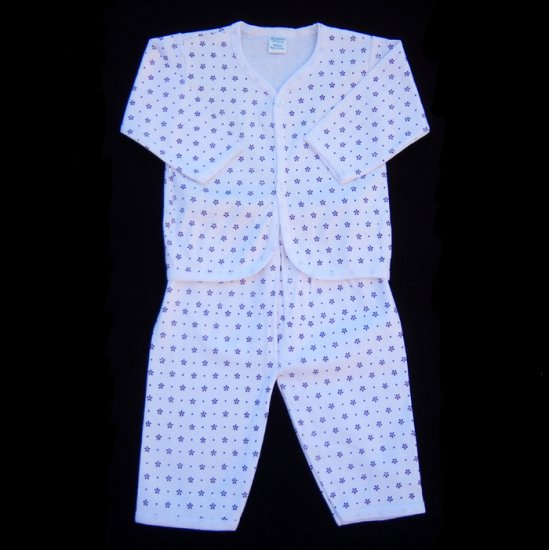 INFANT SLEEPWEAR - PURPLE PRINT ON WHITE 3-6 MOS. - FREE USA + CAN SHIPPING
