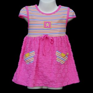LIL� JELLYBEAN SHORT SLEEVE PINK TERRY DRESS SET WITH FLOWER POCKETS 24 MONTHS - FREE SHIPPING
