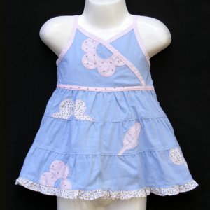 LIL' JELLYBEAN BLUE RUFFLE EDGE FLORAL DRESS SET WITH HAT AND BLOOMER 3-6 MONTHS - FREE SHIPPING