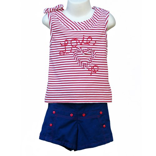 "BT KIDS ""LOVE"" SAILOR STYLE SLEEVELESS SHIRT AND SHORTS WITH MATCHING HAT GIRLS 5 - FREE SHIPPING"