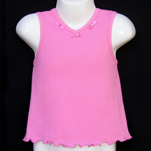 CHICKEN NOODLE SCALLOPED EDGE SLEEVELESS TOP WITH PINK BOWS GIRLS 4 MADE IN USA - FREE SHIPPING