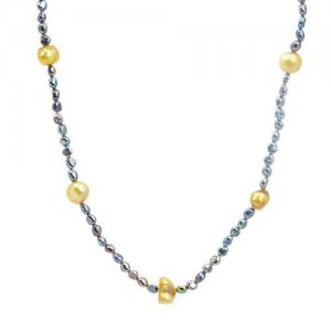18.25 INCH NECKLACE MADE OF MULTICOLOR FRESHWATER PEARLS AND 925 STERLING SILVER - FREE SHIPPING