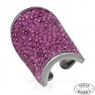 STEVE MADDEN RASPBERRY RED CRYSTAL WRAP RING IN BLACK METAL AND ENAMEL US-7 - FREE SHIPPING
