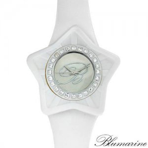 BLUMARINE WHITE STAR SHAPED RUBBER WATCH WITH GENUINE CRYSTALS - FREE SHIPPING