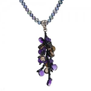 "18"" AMETHYST, TOPAZ, GLASS BEAD AND FRESHWATER PEARL NECKLACE IN STERLING SILVER - FREE SHIPPING"