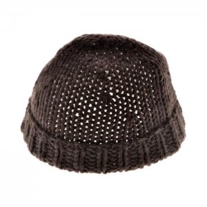 FRENCH CONNECTION DARK BROWN WOOL BLEND UNISEX FOLD OVER BEANIE HAT SKULL CAP OS - FREE SHIPPING