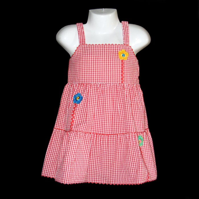 LIL� JELLYBEAN RED AND WHITE GINGHAM TIERED FLOWER DRESS WITH BANDANNA GIRLS 5 - FREE SHIPPING