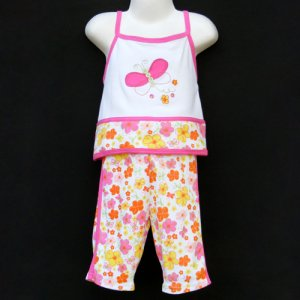 JB KIDS 100% COTTON BUTTERFLY & FLORAL CAPRI SET WITH MATCHING BANDANNA GIRLS 5 - FREE SHIPPING